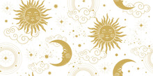 Seamless Celestial Pattern With Golden Sun And Crescent Moon On White Background, Vintage Boho Ornament For Astrology And Tarot. Modern Vector Hand Drawing Illustration.