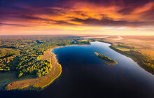Aerial Landscape Photography. Awesome Summer Sunset On Krymne Lake. Dramatic Evening View From Flying Drone Of Shatsky National Park, Volyn Region, Ukraine. Beauty Of Nature Concept Background.