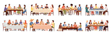 Set Of Illustrations On The Theme Of People Eating. Dishes Of World Cuisines On The Table. Families Spend Time Together And Socialize During Dinner. Ethnic Features Of Cuisines Of Different Nations