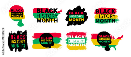 Black History Month. Vector African American History, African Woman and USA map Designs set