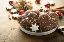 Traditional German Gingerbread Glazed With Chocolate