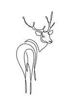 Fallow Deer In Continuous Line Art Drawing Style. Reindeer Minimalist Black Linear Sketch Isolated On White Background. Vector Illustration