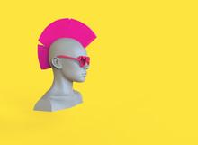 Female Mannequin Head With Pink Hair Mohawk. 3d Render Minimal Illustration