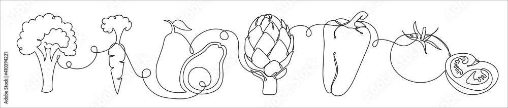 Fototapeta Set of vegetables in a hand drawn linear style.