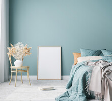 Blue Scandinavian Bedroom With Vertical Frames In Bright Design, Poster Mock Up On Boho Wall Background