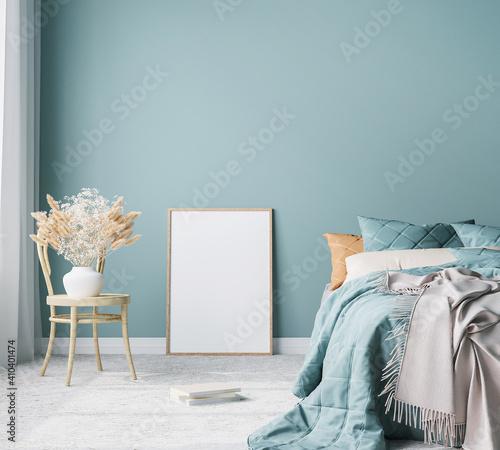 Canvas Print Blue Scandinavian bedroom with vertical frames in bright design, poster mock up