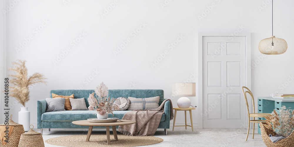 Fototapeta Home interior mock-up with blue sofa, wooden table and decor in white living room, panorama, 3d render