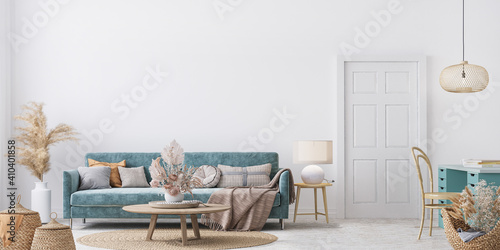 Obraz Home interior mock-up with blue sofa, wooden table and decor in white living room, panorama, 3d render - fototapety do salonu