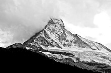 Matterhorn's North Face, Photo In Black And White.
