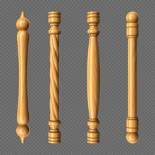 Wooden Door Handles, Column And Twisted Knobs Bar Shapes Isolated On Transparent Background. Yellow Wood Doorknobs, Element For Interior Design And Home Decor, Realistic 3d Vector Icons, Clip Art Set