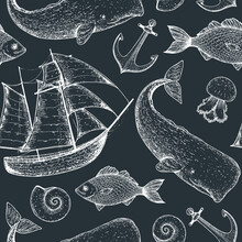 Nautical Seamless Pattern. Sailboat, Fish, Sperm Whale, Anchor, Shell, Jelly Fish Sketch Illustration. Hand Drawn Illustration. Sea Set. Vintage Background.