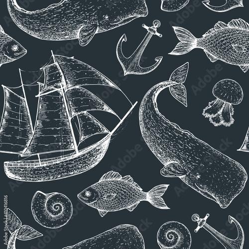 Obraz na plátně Nautical seamless pattern