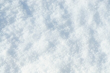Background Of Fresh Snow Texture. Top View Of The Natural Pure Snow In Winter With Copy Space. Beautiful Abstract Snowy White Texture For Design. Winter Landscape. Christmas Background. Stock Photo