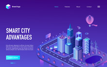 Smart City Advantage Isometric Vector Illustration. Cartoon 3d Cityscape Infrastructure Of Futuristic Technology With Skyscrapers Buildings, Modern Digital Future Tech Innovation Neon Landing Page