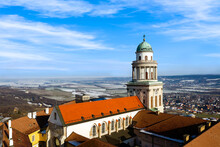 Arieal Photo Of  Pannonhalama Benedictine Abbey In Hungary. Amazing Historical Building With A Beautiful Church And Library. Popular Tourist Destination With Guided Tours