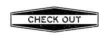 Grunge Black Check Out Word Hexagon Rubber Seal Stamp On White Background