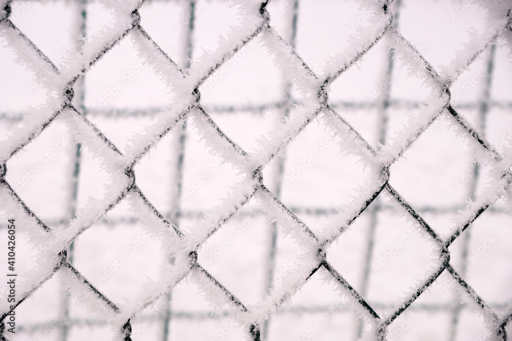 Fototapeta Snow-covered netting in the fence of the sports ground