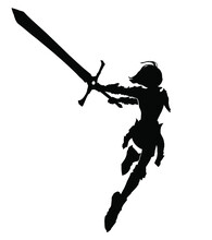 The Black Silhouette Of A Fragile Girl Running Into The Attack With A Huge Sword At The Ready, Drawn In The Style Of Anime . 2d Illustration