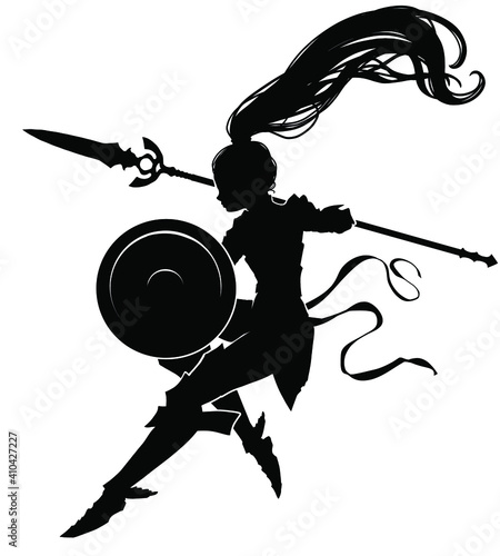Photo The black silhouette of an Amazon girl floating in the air with a shield and spear at the ready, her hair flying beautifully in the air