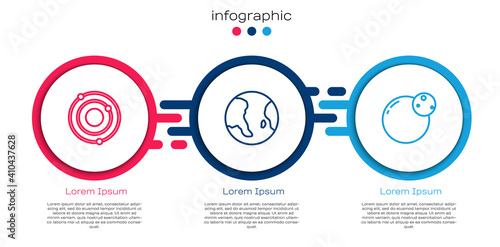 Set line Solar system, Earth globe and Planet. Business infographic template. Vector.