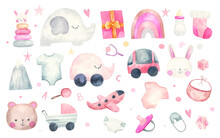 Children's Set Of Things, Clothes, Toys, Gifts,  Illustration On A White Background