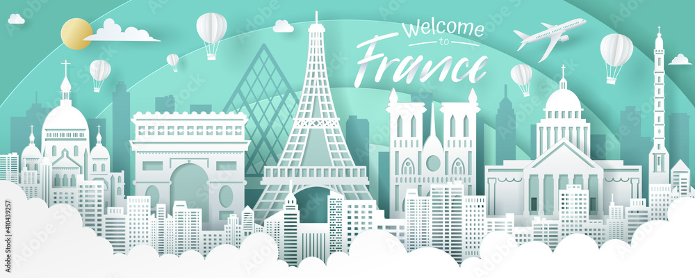 Fototapeta Vector of France landmark, travel and tourism concept.
