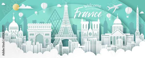 Obraz Vector of France landmark, travel and tourism concept. - fototapety do salonu