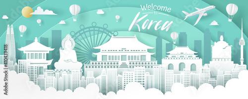 Obraz Vector of Korea landmark, travel and tourism concept. - fototapety do salonu