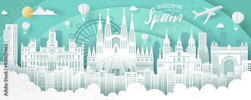 Obraz Vector of Spain landmark, travel and tourism concept. - fototapety do salonu