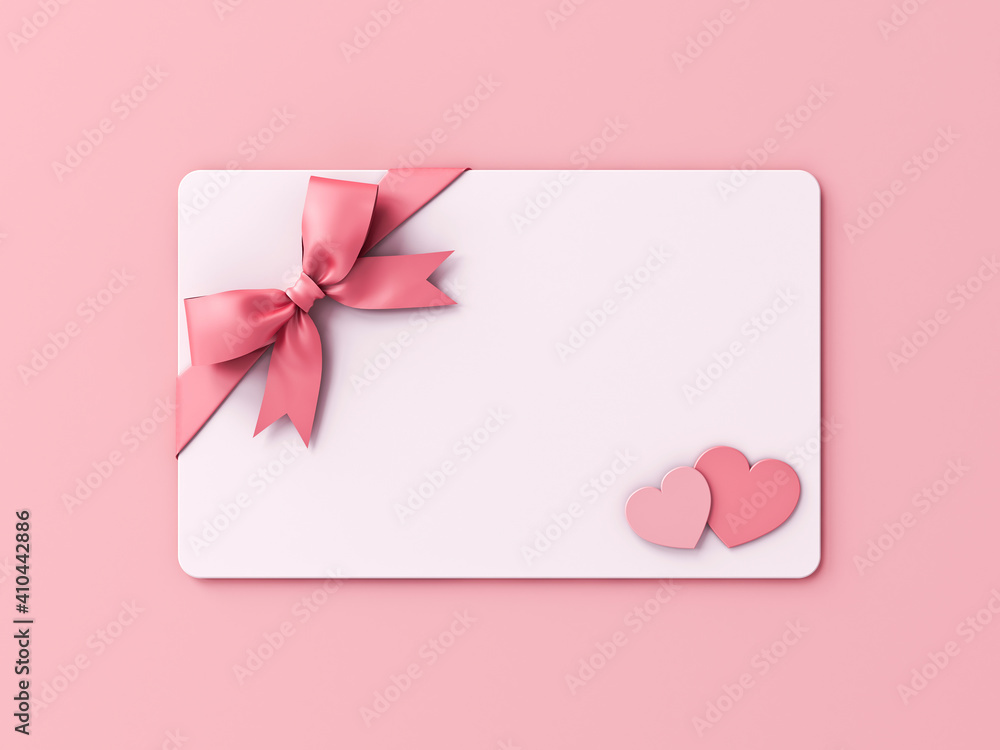 Fototapeta Blank Valentine gift card with pink ribbon bow and mini heart love couple isolated on pink pastel color wall background with shadow minimal conceptual 3D rendering