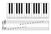 Middle C On A Piano Keyboard, Learning Aid And Cheat Sheet. Diagram Of Two Octave Sections, For Treble Clef And Bass Clef, On Keyboard And Grand Staff, The Middle C In Red Color. Illustration. Vector.