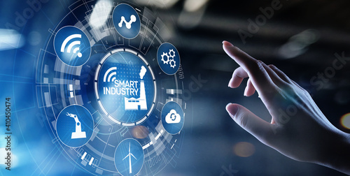 Obraz Smart industry 4.0, automation and optimisation concept on virtual. Business and modern technology concept. - fototapety do salonu