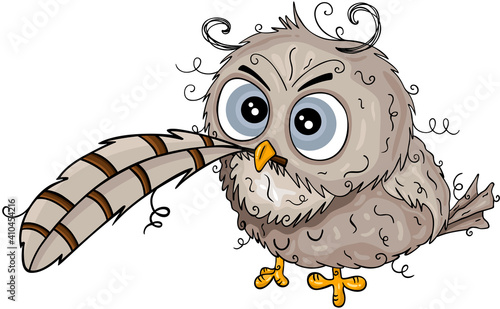 Cute owl holding a feather  #410454216