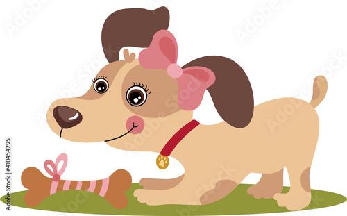 Sweet Female Puppy Dog With Bone #410454295