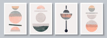 Mid-Century Modern Design. Aesthetic Watercolor. Set Of Abstract Hand Painted Illustrations For Postcard, Social Media Banner, Brochure Cover Design Or Wall Decoration Background. Vector Illustration.