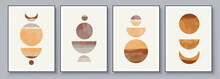 Mid-Century Modern Design. A Trendy Set Of Abstract Hand Painted Illustrations For Postcard, Social Media Banner, Brochure Cover Design Or Wall Decoration Background. Aesthetic Watercolor.