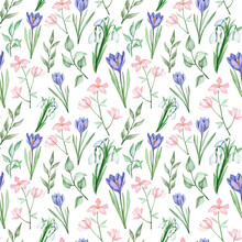 Spring Seamless Pattern With Hand Painted Watercolor Flowers