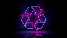 Pink And Blue Neon Light Recycle Icon. Vibrant Colored Eco Technology Symbol, Isolated On A Black Background. 3D Render