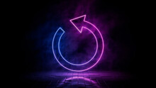 Pink And Blue Neon Light Refresh Icon. Vibrant Colored Reload Technology Symbol, Isolated On A Black Background. 3D Render