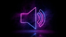 Pink And Blue Neon Light Audio Icon. Vibrant Colored Sound Technology Symbol, Isolated On A Black Background. 3D Render
