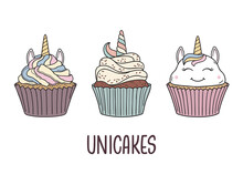 Set Of Unicorn Cupcakes