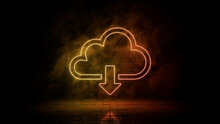 Orange And Yellow Neon Light Cloud Download Icon. Vibrant Colored Technology Symbol, Isolated On A Black Background. 3D Render