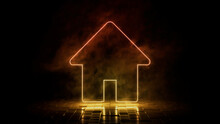 Orange And Yellow Neon Light Home Icon. Vibrant Colored Technology Symbol, Isolated On A Black Background. 3D Render
