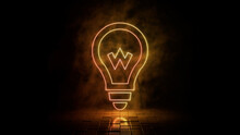 Orange And Yellow Neon Light Lightbulb Icon. Vibrant Colored Technology Symbol, Isolated On A Black Background. 3D Render
