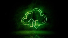 Green Neon Light Cloud Icon. Vibrant Colored Technology Symbol, Isolated On A Black Background. 3D Render