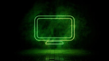 Green Neon Light Display Icon. Vibrant Colored Technology Symbol, Isolated On A Black Background. 3D Render