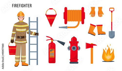 Fototapeta Firefighter character and tools for his work. obraz