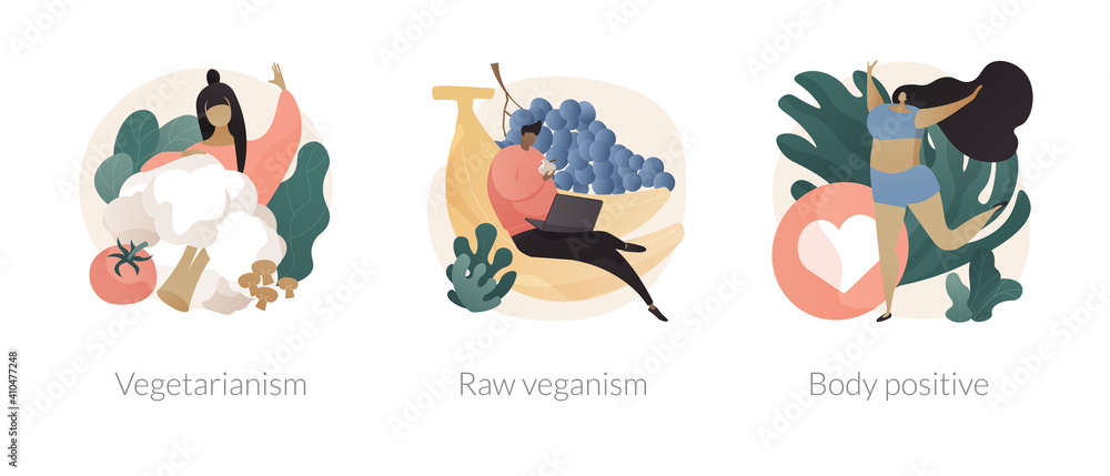Fototapeta Healthy lifestyle abstract concept vector illustration set. Vegetarianism and raw veganism, body positive, juice and sprout diet, fresh organic products, body detox, self-confidence abstract metaphor.