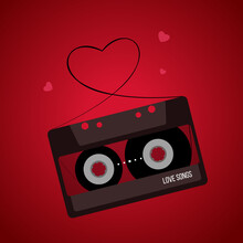Vector Valentines Day Illustration. Vintage Audio Tape With Hearts On Red Background