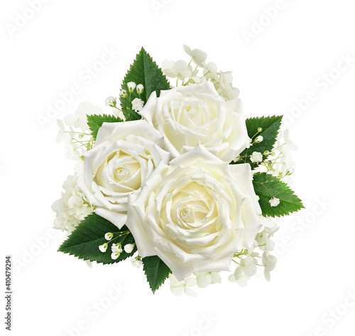 Obraz na plátně Bouquet of white roses, hydrangea and gypsophila flowers isolated on white